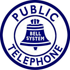 Public Telephone Bell System Sign Round Made To Look New