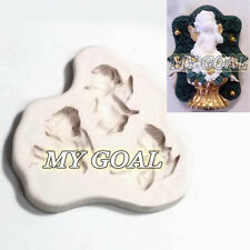 3 Angels Cupid Fairy Silicone Fondant Mould Baby Cake Decor Gum Paste Icing Mold