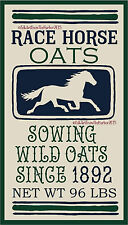 PRIMITIVE STENCIL RACE HORSE OATS  FEED SACK DESIGN 10X18 .007 MIL FREE SHIP