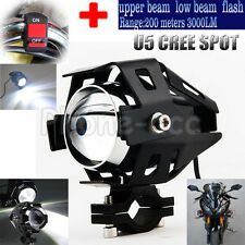 Black CREE 125W U5 LED Motorcycle Headlight Driving Fog Light Spot Lamp + Switch
