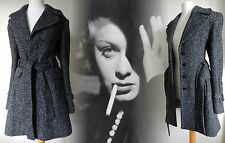 Vintage Inspired Coat 40s 50s Tweed Plaid Wool Jacket Black 14 16 42 44 US 10 12