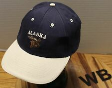 VERY NICE ALASKA MOOSE HAT ADJUSTABLE BLUE & BEIGE VERY GOOD CONDITION
