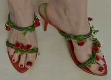 Key Te Strappy High Heel Shoes with Roses Sz 39 - US 8.5 US NEW