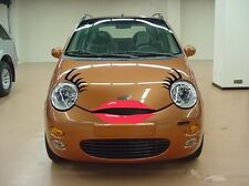 Headlight Car eyelashes and lip sticker Decal for Chery Q3 BMW Mini VW funny red