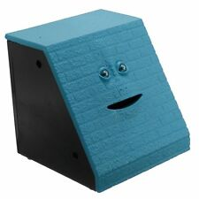 NEW Blue Brick Face Piggy Bank Saving Sensor Coin Eating Money Box HOT Gifts