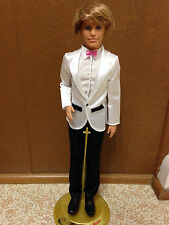 Barbie Ken Wedding Groom Rooted Hair Pink Bow Tie Black White Tuxedo Suit Shoes