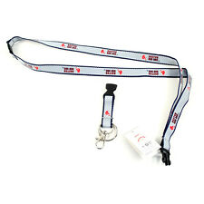Boston Red Sox Ultra Slim Lanyard, Grey with Navy Blue Trim