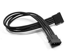 Shakmods Male Molex to Sata Power Extension 45cm Cable Hand Sleeved Black UK