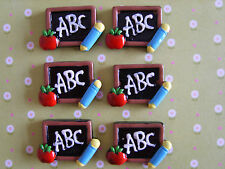 6 x abc back to school flatback de résine, embellissement, artisanat, cabochon * uk *