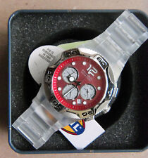 NIB Fossil Watch, Red Casual unisex, Carbonite, 3 dial, date, Box, Manual, Tags