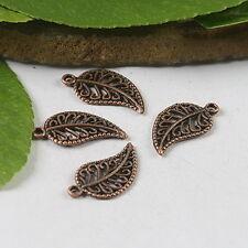 60pcs antiqued copper leaves charm pendants h0586