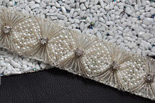S213A Bridal Sash Belt Pearl Crystal Bead Applique,Wedding Dress Accessories