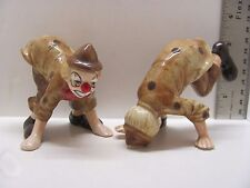 "Vintage Pair of 3"" Porcelain Clown Figurines Clowns Tumblesault Leap Frog"