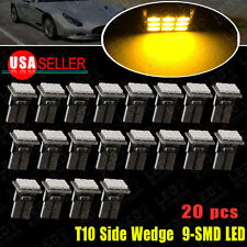 20X Amber Yellow T10 W5W 192 168 Wedge Side 9-SMD LED Bulb Dome Map Cargo Light