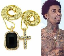 MENS ICEDOUT HIP HOP GOLD MICRO CROSS & BLACK ONYX SQUARE PENDANT CHAIN NECKLACE
