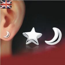 Silver Plated Stud Earrings Moon and Star Stud Earrings Gift