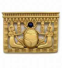VINTAGE STYLE EGYPTIAN REVIVAL GOLD PLATED LAPIS LAZULI SCARAB PIN, SIGNED