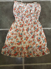"LADIES S M NIKKA BLUE ORANGE FLORAL STRAPLESS ELASTIC WAIST DRESS CHEST 36"" 92cm"