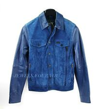 A/X ARMANI EXCHANGE BEST QUALITY BLUE LEATHER & SUEDE JACKET SIZE S BRAND NEW