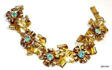 Sterling 12K GF Bracelet Signed Raleigh Gold Flowers Antique Costume Jewelry