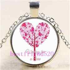 Breast Cancer Pink Tree Cabochon Glass Tibet Silver Chain Pendant Necklace