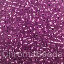 50g glass seed beads - Mauve Silver-Lined - approx 3mm (size 8/0) purple