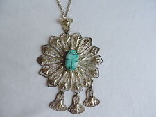 Vintage Filigree Scarab Beetle Pendant Runway Necklace Jewelry (xx174)
