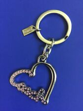 Coach Pave Script Heart Keychain with Pink Crystals #F92631 J1