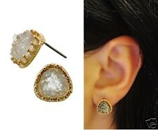 Urban Trend Deicate Triangle Small Clear Druzy Gold Frame Stud Button Earrings