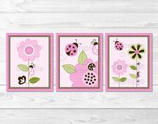 Pink Ladybug Flower Printable Nursery Wall Art
