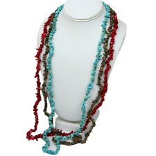 "Set of 3 Red Coral 34"" Unakite 34"" and Turquoise 34"" Chip Necklace"