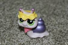 Littlest Pet Shop Purple Snail #628 LPS Toy Hat Necklace Green Eyes 2007 Hasbro