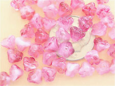 50 Crystal Pink Bell Flower Czech Glass Beads 6mm x 4mm