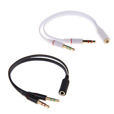 3.5mm Audio Mic Y Splitter Cable Headphone Adapter Female To 2 Male New