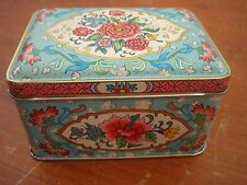 Daher Box Hinged Lid England Small Baby Blue Pink Gold Floral Long Island N.Y.