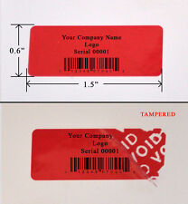 "1,000 SECURITY LABEL SEAL STICKER RED CUSTOM PRINTED TAMPER EVIDENT VOID 1.5"".6"""