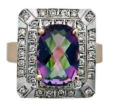 14K GOLD DIAMOND AND MYSTIC TOPAZ RING