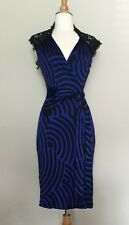 Diane von Furstenberg Oliver wrap dress lace trim blue black sleeveless viscose
