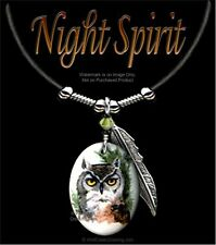 "NIGHT SPIRIT OWL NECKLACE - WILD NATURE ART JEWELRY OWLS GIFT SALE  24"" LEATHER*"
