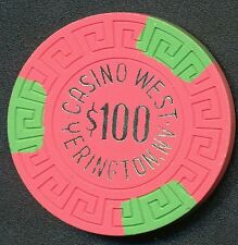 CASINO WEST YERINGTON 1ST ISSUE $100 GAMING CHIP 1974