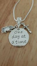 Alcoholics Anonymous ONE DAY AT A TIME  necklace  sterling silver AA NA GA box