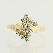 Diamond Bypass Ring - 10k Yellow Gold Women's Anniversary