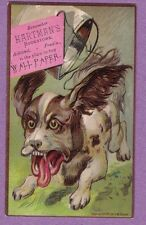 0317A VTG TRADE CARD HARTMAN'S BOOKSTORE ASHLAND PA CRAZY DOG  PAIL TIED TO TAIL