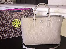 TORY BURCH ROBINSON WOVEN MULTI TOTE FRENCH GRAY NWT $695 & GIFT BAG -31159777