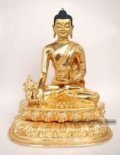 "Finely Carved Face Painted 10.75"" Medicine Buddha Copper Gold Gilded Statue"