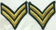 Vietnam Era US Army Corporal Green Stripes Patch Pair