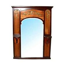 Beautiful French Mahogany Art Nouveau Inlaid Mirror c. 1890 #463A