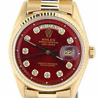 Men Rolex Solid 18k Yellow Gold Day Date President Watch w/Red Diamond Dial 1803