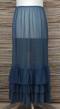 LAGENLOOK MAXI PETTICOAT UNDERSKIRT/DRESS*TEAL*MADE IN ITALY WAIST UP TO 54""