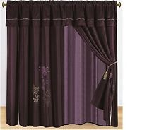 Pair of Dark Purple Embroidery Windows Curtain/Drapes/Panels With Valance New.